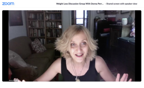 Donna Perrone hosting a Zoom Class on 7-27-20